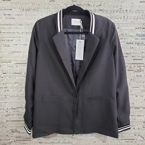 Lush Black Oversized Varsity Striped Jacket Small
